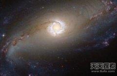 """明亮的恒星环带围绕棒旋星系""""心脏"""""""