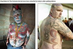 纹身最多男子全身80%纹满图案 遍布蛇蝎吸血鬼