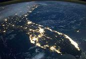 太空图:被照明的地球足迹